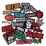25pcs Bank Rock Music Patches Mixed Band Rock Music Patches Embroidered Badge Punk Hippie Clothes Stickers Iron on for Clothes Jacket Jeans Applique