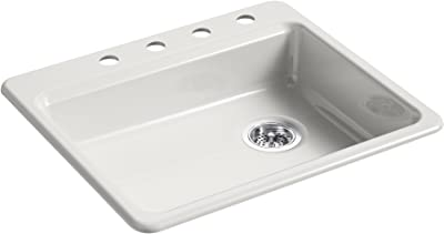 """KOHLER K-5479-4-FF Riverby 25 In. x 22 In. x 5-7/8 In. Top-Mount Single-Bowl Kitchen Sink with 4 Faucet Holes, Sea Salt, 25"""" x 22"""" x 5-7/8"""""""