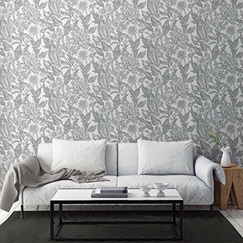 Crown Wallcoverings Alexis Floral Silver M1379 vinylbehang, metallic glitter, wildbloem