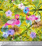 Soimoi Gelb Seide Stoff Flamingo, Tropische Blätter &