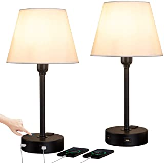 ZEEFO Touch Control Table Lamp Built in Dual USB Ports & AC Outlet, White Fabric..