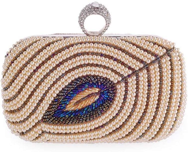 ZYLE Evening Bag Women's Pearl Beaded Clutch, Chain Shoulder Bag 16x9x5.5cm Evening Bags (Color : Gold)