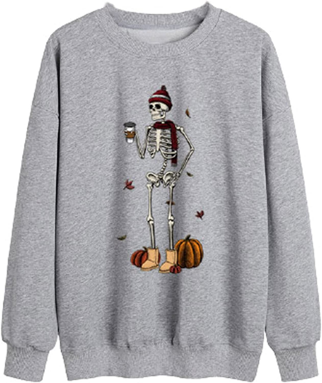 Halloween Skeleton Print Sweatshirt, Women's Casual Long Sleeve Tops Skull Pumpkin Graphic Crewneck Pullover Fall Tee