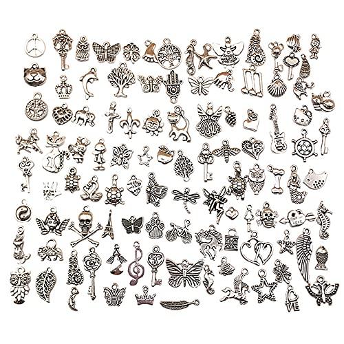 QWESHTU 100 Piezas de dijes de joyería, Colgantes de Plata tibetana Mixta, para Hacer Joyas de Bricolaje, Accesorios, Pulsera, Collar, Llavero, Manualidades