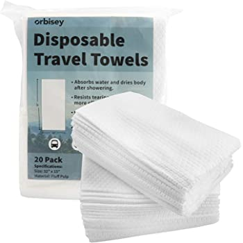 """Orbisey Large Disposable Bath Towels 32"""" x 15"""" - for Camping Trips, Vacations, Travel (20 Pack)"""