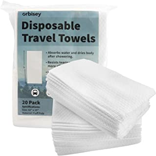 "Orbisey Large Disposable Bath Towels 32"" x 15"" - for Camping Trips, Vacations, Travel - (20 Pack)"