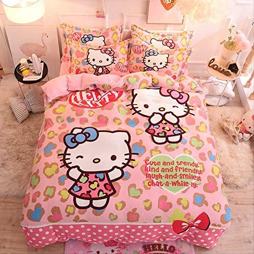 Espesar en invierno, mantener el calor hello kitty Funda de colcha de franela, sábana / funda de colchón, funda de almohada Caricatura Paquete de ropa de cama para niños Cama de 1,0 a 1,35 m 5