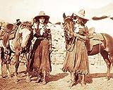 8 x 10 Tin Sign Old West Cowgirls Vintage Photo Buffalo Bills Wild West Show 1899