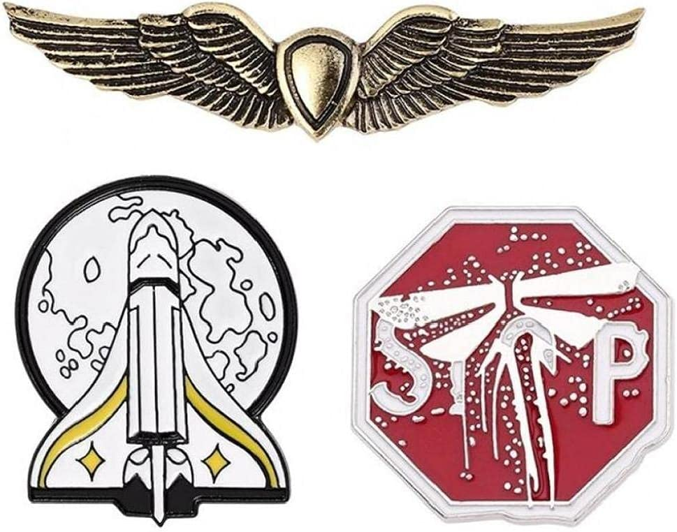 3pcs The Last of US 2 Ellie Brooch Pins Gold Spaceship Badge Brooches for Fans Cosplay Jewelry Gift