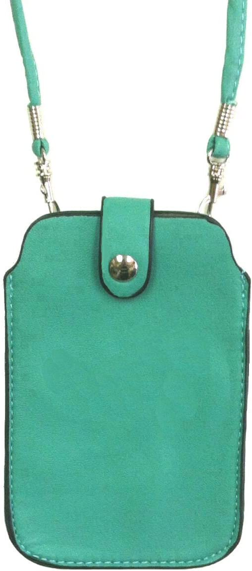 Leather Neck Pouch for Phone (Style 2) - Aqua