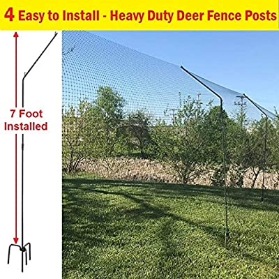 "ONE Step Deer Fence Posts - No Equipment or Tools Required, 4 Sturdy Steel Posts for 7 ft. Fence,""Y"" Brackets Hold Netting in Place - No Sagging"