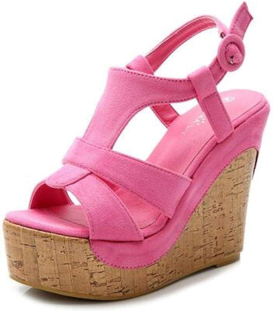 CYBLING Womens Peep Toe Platform half Sandals Cork New York Mall Strap Ankle Wedge