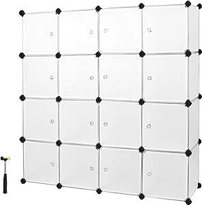 SONGMICS Armario Modular con 16 Cubos, Montaje en Bricolaje, Armario de Almacenamiento de Plástico, con Puertas, Estable, Instalación Sencilla LPC44BS