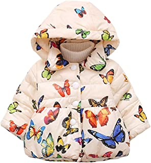 COODIO Baby Girl Butterfly Pattern Thick Cotton-padded Hooded Coat Outwear Warm Clothes for Winter