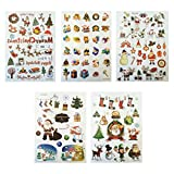 YeahiBaby 5 Sheets Christmas Temporary Tattoo Stickers Sheets Santa Snowman Reindeer Snowflake Patterns Body Art Stickers for Kids and Adults