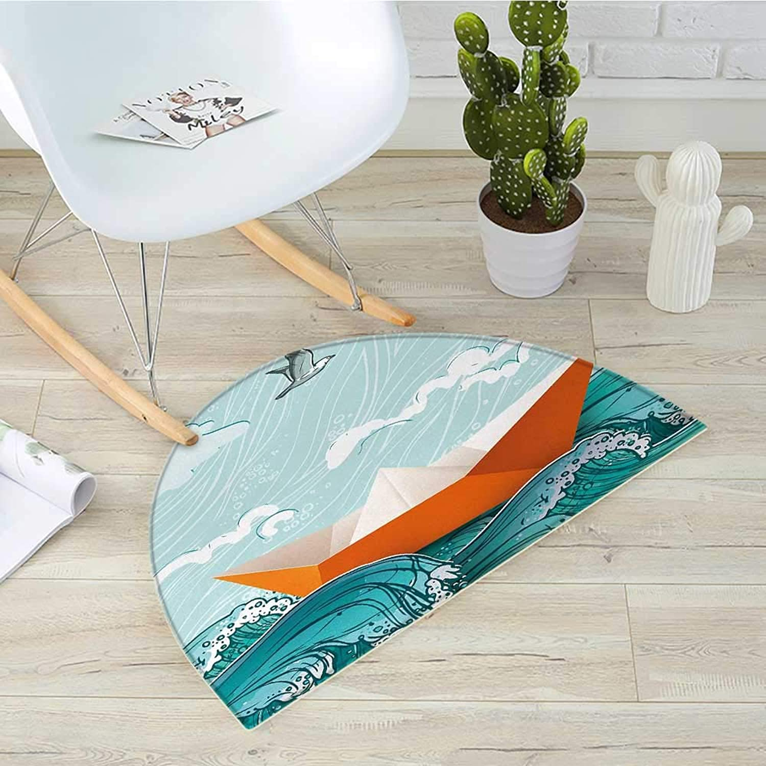 Ocean Half Round Door mats Navy Sealife with Waves and a Paper Sail Ship with Travel Quote Image Bathroom Mat H 39.3  xD 59  orange Sky bluee and White