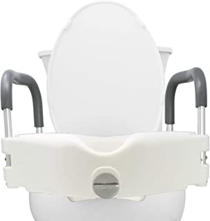 Pivit Raised Toilet Seat | Portable, Elevated Riser with Padded Grab Bar Handles | Elongated and Standard Fit Commode Lifter | Bathroom Safety Extender Assists Disabled, Elderly, Seniors, Handicapped
