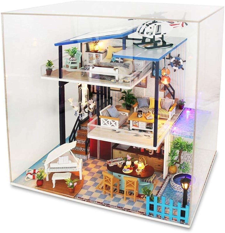 Jouets créatifs 3D, Modèle d'assemblage hommeuel sans couverture de la maison de bricolage grande villa en bois meubles de maison de poupée et accessoires Approprié aux cadeaux de vacances de décoration