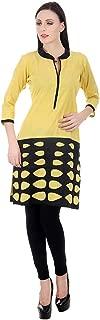 Devaleena Creations Yellow Jute Cotton Kurta Black Cuthole Styled on the Hemming- For Ladies, Girls