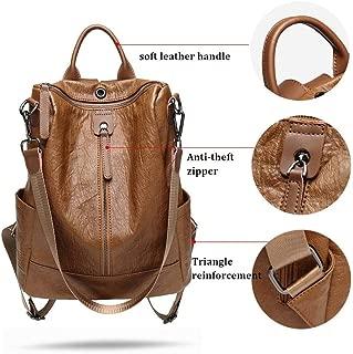 Sturdy Shoulder Handbag for Female Travel Backpack Mochila Multifunction Leather Backpack, Large Capacity (Color : Brown)