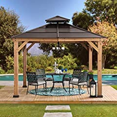 Premium Cedar wood frame construction pre-cut and pre-drilled with a natural looking finish Sturdy rust-resistant powder-coated brown steel roof top Ceiling hook provided for suspending lighting Dual rails included for hanging privacy curtains and mo...