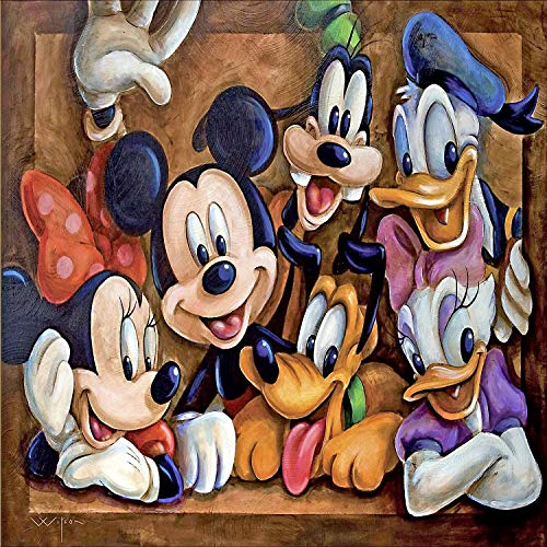 Kits de pintura de diamantes DIY 5D, Disney Mickey Mouse y Donald Duck Crystal Rhinestone Embroidery Arts Craft para la decoración de la pared del hogar, 50 * 40 CM