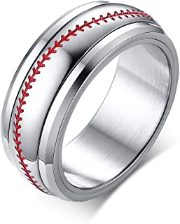 PJ 8mm Stainless Steel Spinner Ring American Baseball Sport Softball Band with Red Stitching