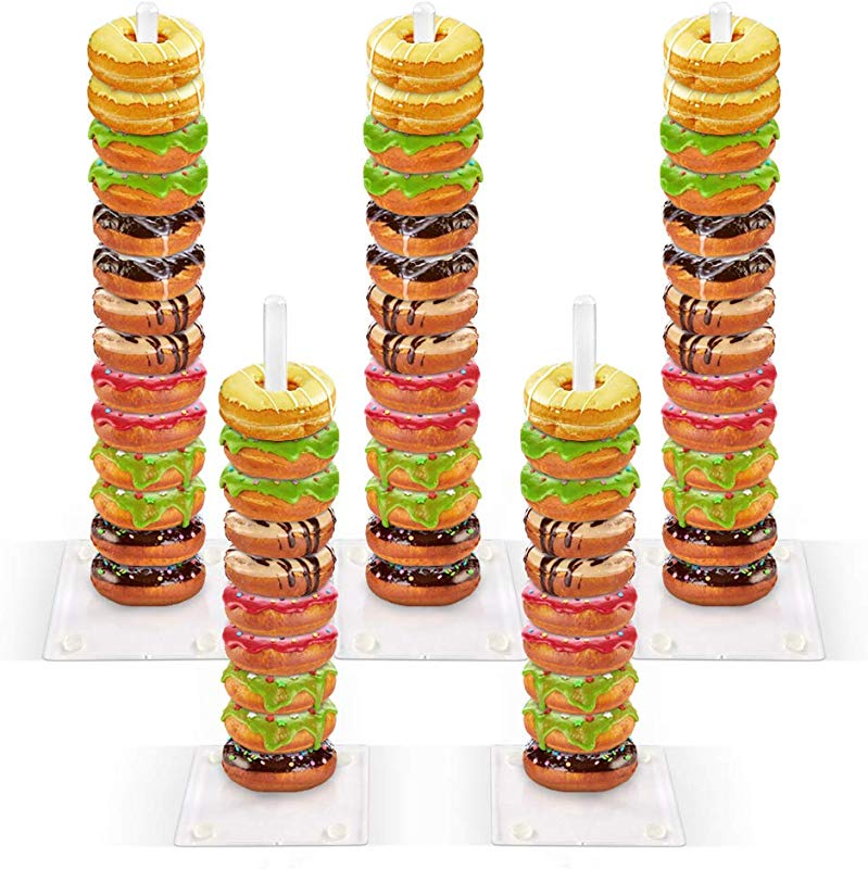 ZNCMRR Acrylic Donut Stand Display Holder 5 Pieces Clear Bagels Holder For Baby Shower Wedding Birthday Party