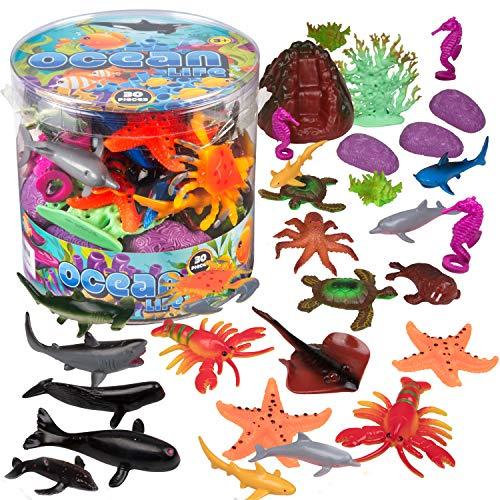 Ocean Sea Creature Action Figures - 30 Pieces  18 Unique Sculpts- Giant Ocean Animal Toys Playset