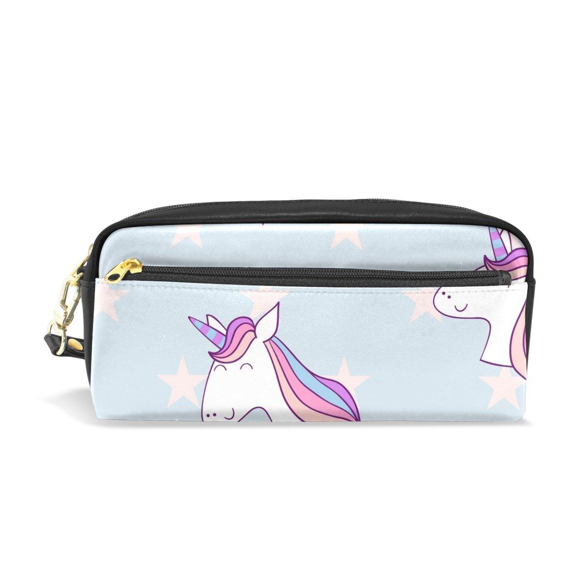 ISAOA Estuche de gran capacidad con cremallera para artículos de papelería Unicornio con estrellas bolígrafo bolsa de maquillaje cosmético para niñas y niños: Amazon.es: Oficina y papelería