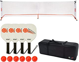 GSE Games & Sports Expert Professional Portable Pickleball Net or Complete Set (Including Pickleball Net System,  4 Pickleball Paddles,  6 Pickleballs,  Black Net with Carrying Case)