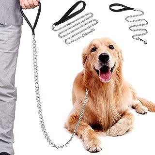 Decoroom Metal Dog Prong Training Collar Stainless Steel Dog Leash and Pinch Collar Chrome Plated Metal Dog Lead Correction Collar Pets Sprenger Collar