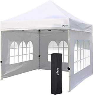 CRINEX 10x10 Canopy Tent White, Pop Up Portable Shade Instant Folding Outdoor Gazebo Canopy Tent with 3 Removable Side Walls and Black Carry Bag