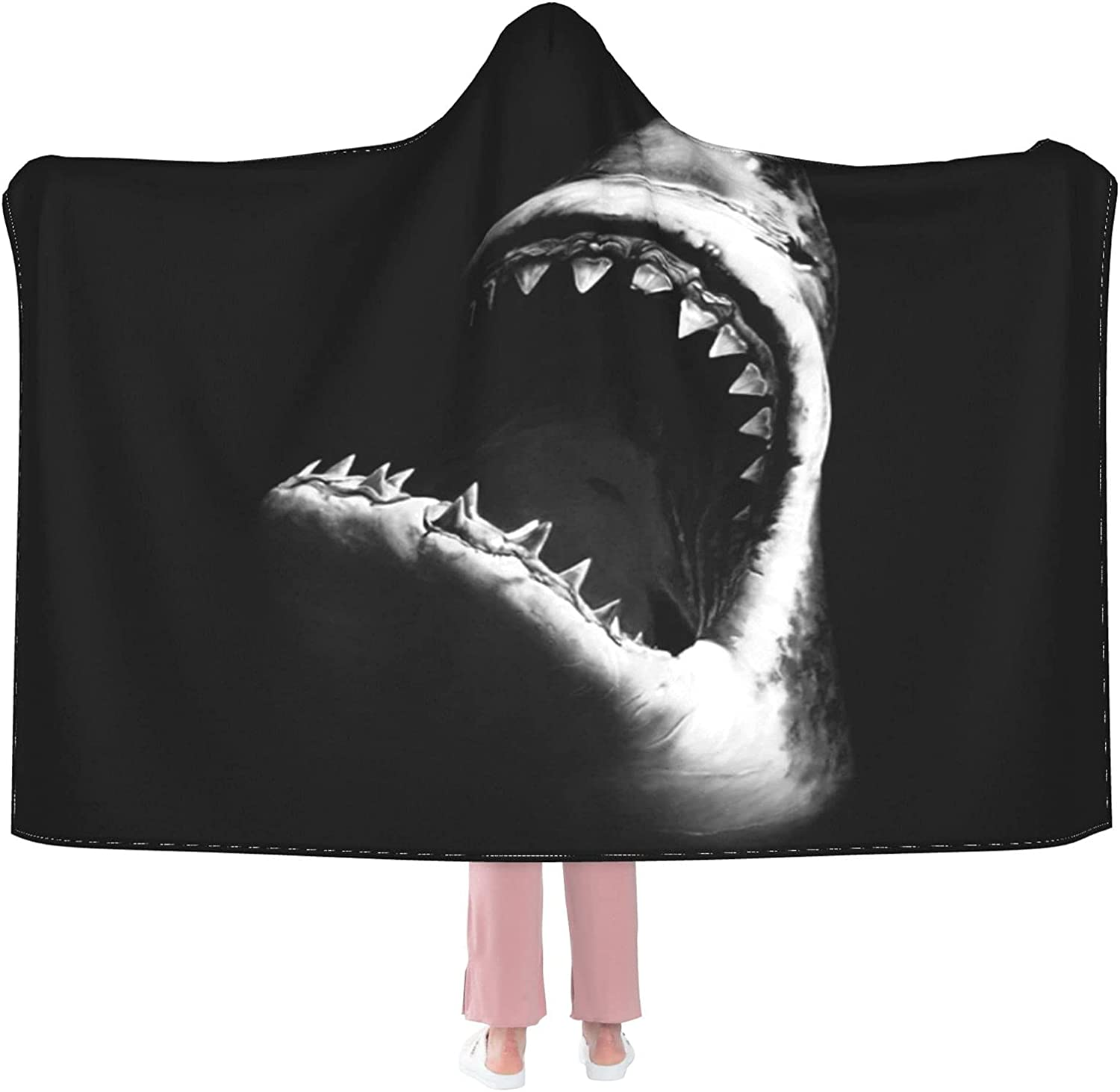 Fiercely Max 51% OFF Shark Wearable Flannel Blanket Hooded Free shipping