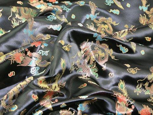 91,4cm breit Chinesischer Drache Brokat Kleid Stoff, Meterware, Schwarz
