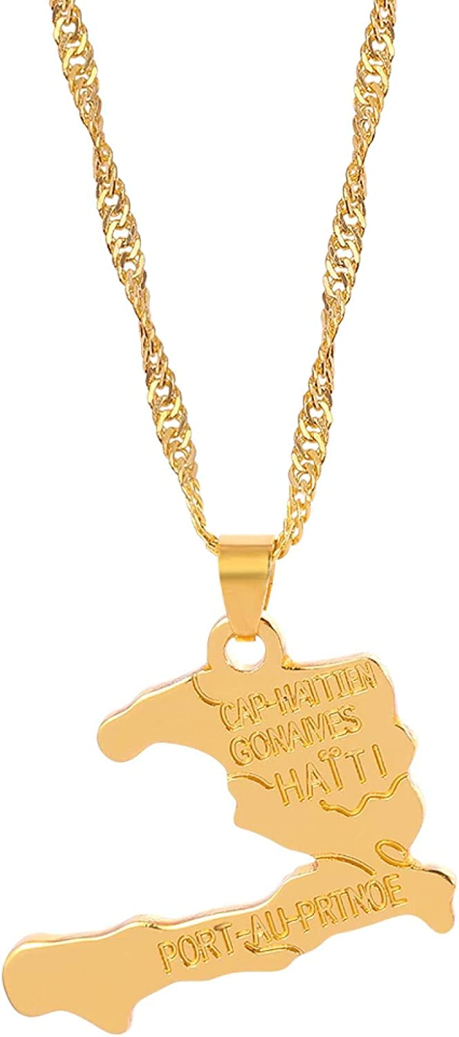Haiti Map Necklace Map Pendant For Women Girls Glamour Chain Gold Color Jewelry Gift Chic Jewelry Accessories