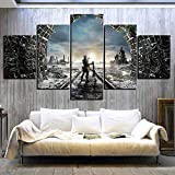 JIANGDL Shooting Game Metro Exodus Fantasy Stampe su Tela 5 Pezzi su Tela Wall Art Decorazione Moderna della Parete casa Soggiorno Decorazione Creative Gift Poster