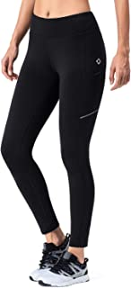 NAVISKIN Women's Fleece Lined Thermal Tights Running Yoga Leggings Winter Outdoor Pants Zip Pocket