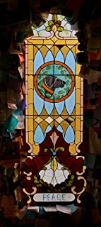 Photograph- Each dog-themed stained-glass window has a theme (see its title) at the Dog Chapel, indeed, a quite serious chapel devoted to departed and/or beloved canine pets 1 20in x 40in