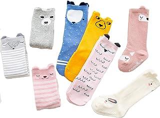 XM-Amigo, 8 pares de calcetines antideslizantes para bebé hasta la rodilla calcetines largos hasta la rodilla para bebé princesa de algodón