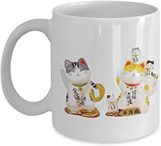 Cat Coffee Mug - Cute Funny Kitten Tea Cup Gift Ceramic - 6 Waving Kitty Figurine with Chinese Character - Bring Wealth and Treasure