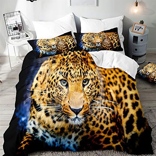 3D Juego de Ropa de Cama 3 Piezas, Morbuy Leopardo Impresión Microfibra Juego de Fundas de Edredón Incluye 1 Funda Nórdica y 2 Funda de Almohada (Leopardo Curioso,220x240cm)
