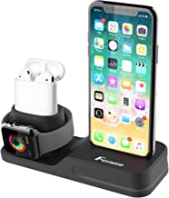 Foxnovo Apple Watch Stand, 3 in 1 Charging Station iPhone AirPods Apple Watch Charger Silicone Station, Support Apple Watch 3/2/1/AirPods/iPhone 11/11Pro/X/8/8 Plus/7/7 Plus/6s