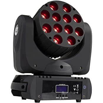 SHEHDS Moving Head Light 12x12W LED 4in1 RGBW LED Beam Rotating Head Lighting 9/16 Channels DMX512 DJ Uplighting Lights for Events Night Clubs Disco KTV Bar Show