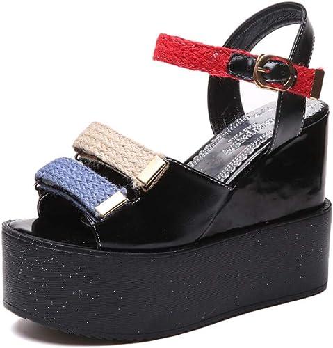 PINGXIANNVSandales Les Les dames Sandales à Plateforme pour femmesNew femmesNew Summer Ladies Talons Hauts compensés à Bout Ouvert Chaussures Femme Noir Blanc  il y a plus de marques de produits de haute qualité