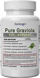 Superior Labs – Pure Natural Graviola NonGMO – 1,200mg, 120 Vegetable Caps– Natural Dietary Soursop Supplement – Healthy S...