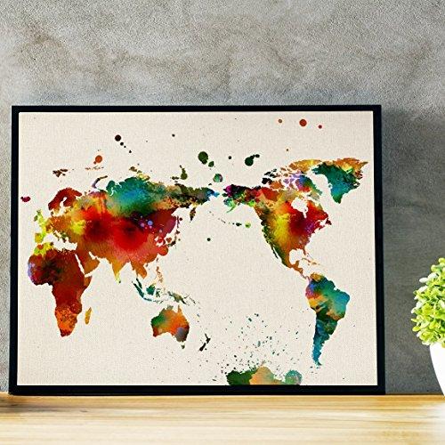 Nacnic Lámina para enmarcar MAPAMUNDI. Mapa del Mundo. Poster con imágenes del Mundo de Estilo Acuarela. Lámina mapas. Decoración de hogar. Láminas tamaño 30x40 para enmarcar. Papel 250 Gramos