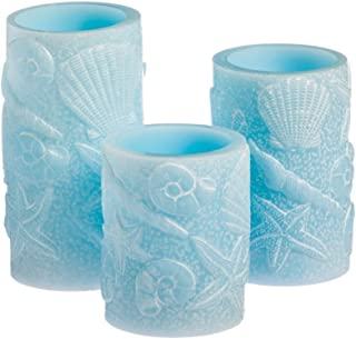 Cypress Home Seashell Embossed Battery Operated Flameless LED Wax Pillar Candle with Remote, Set of 3