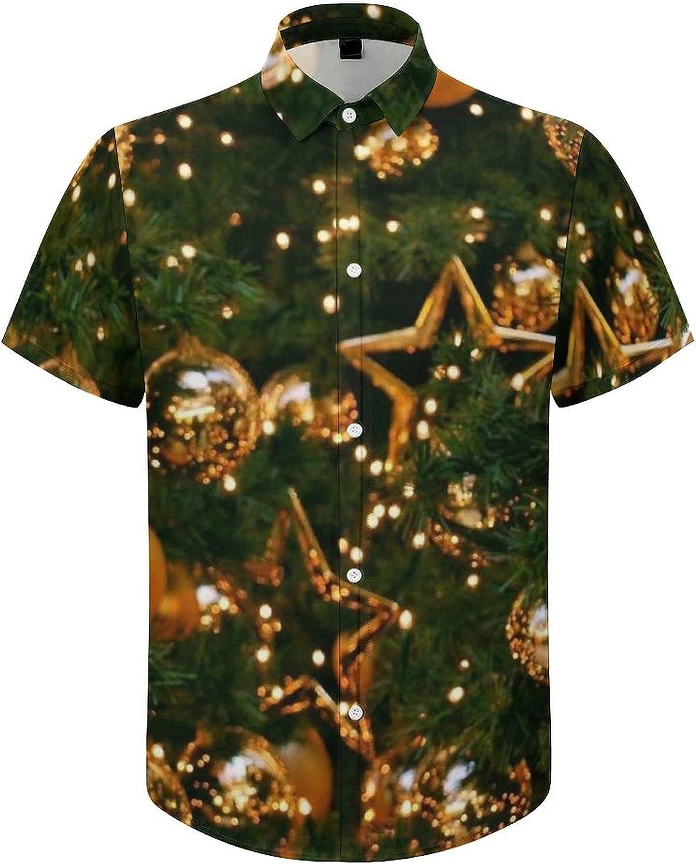 Men's Regular-Fit Short-Sleeve Printed Party Holiday Shirt Christmas Golden Ball Star