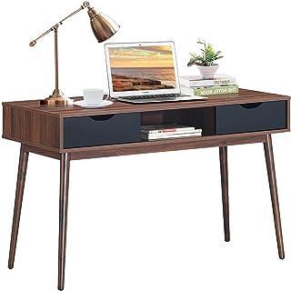 Costway Bureau Scandinave Vintage,Table Console de Secrétaire en Bois avec 2 Tiroirs,Table d'Ordinateur de Style Industrie...